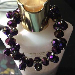 Jewelry - Purple beaded clusters stretch bracelet